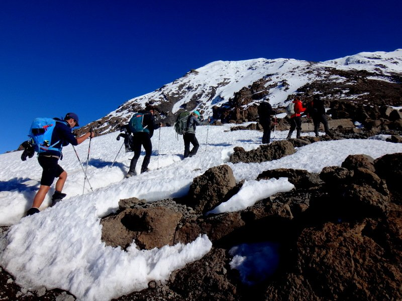 hikers climbing Mt. Kilimanjaro