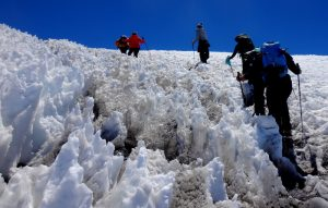 Climbing in the snow Mt Kilimanjaro