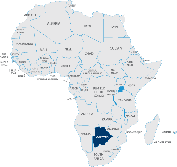 botswana highlighted on map